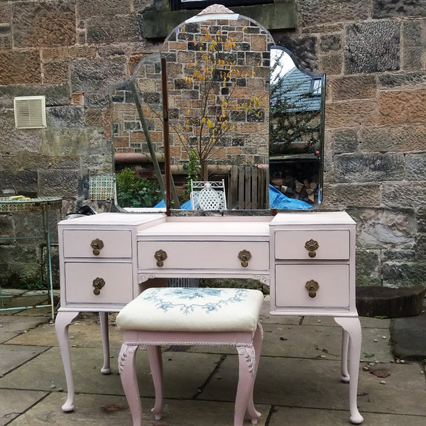 Custom Listing for Claire hand painted vintage dressing table and stool Painted in Miss Mustard Seed milk paint Arabesque