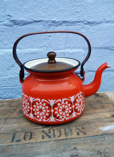 Vintage Finel Red Enameled Tea Kettle Pot with Danish Tulip Design