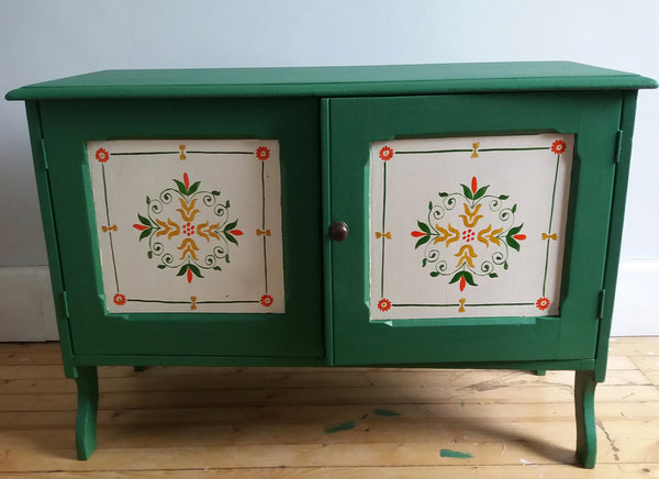Original hand painted folk art pine cabinet great for storing Vinyl!