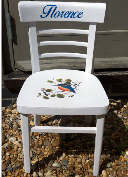 Children's personalised upcycled shabby chic wooden nursery school chair with vintage bird theme and your child's name
