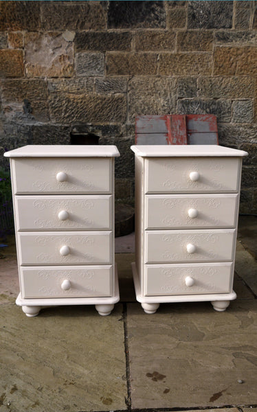 2 bedside tables with embossed drawer stencil