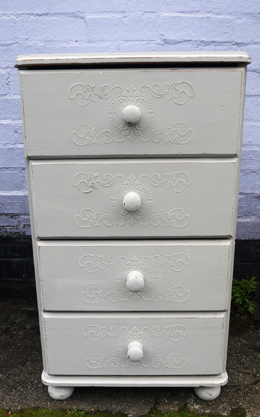 Vintage tall bedside cabinet with embossed stencil design