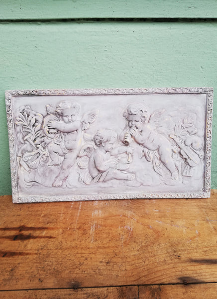 3 cherubs vintage wall plaque