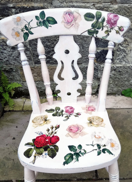 Hand painted boho chair with rose theme