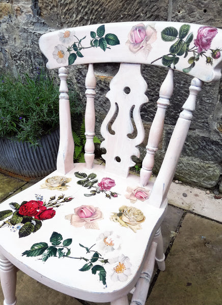 RESERVED for Jane - Hand painted boho chair with rose theme
