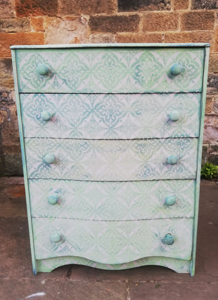Painted to order - Vintage Chest of Drawers hand painted and stencilled