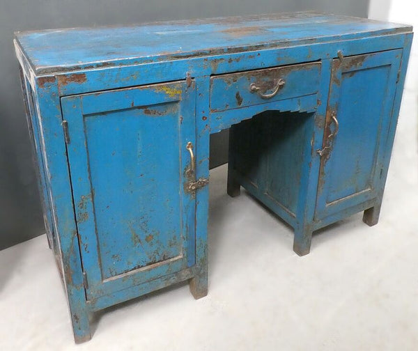 Beautiful antique teak painted desk with original blue chippy paint