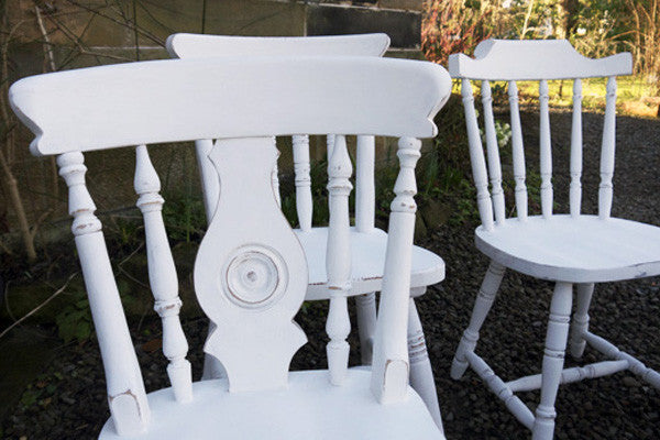 6 x vintage missmatched dining chairs in white by Emily Rose Vintage