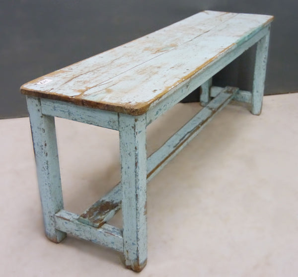 Beautiful antique teak 1920's original painted bench in pale blue original paintwork