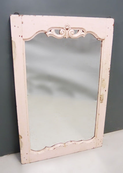 RESERVED   Beautiful antique teak 1920's original painted mirror in yummy pink original paintwork