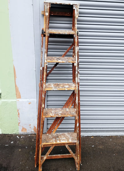 Beautiful paint splattered vintage set of ladders