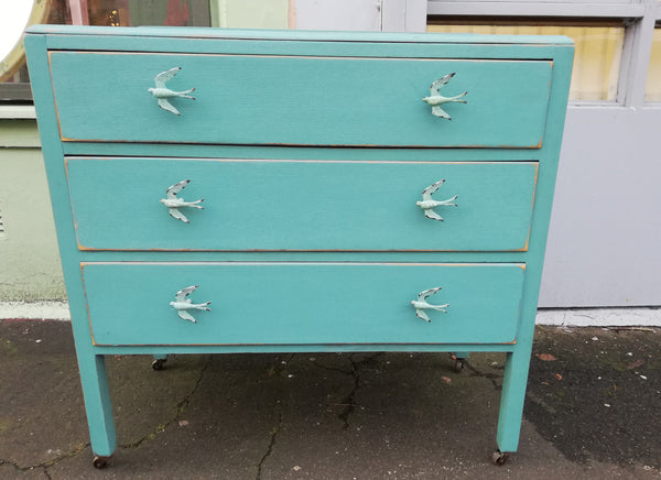 Custom Listing for Sarah-Jane Vintage Chest Of Drawers painted turquoise with bird handles and botanical drawer lining.
