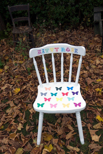 Child's, children's Upcycled wooden vintage chair with personalised kids name and  animal decoupaged  Custom Listing for Jo Wise