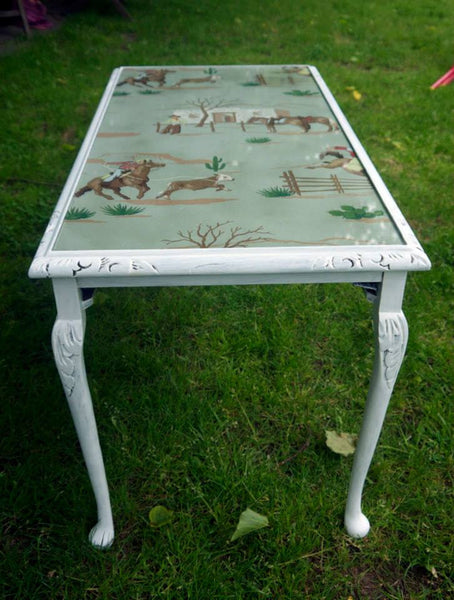 Child's table with 1940's original handpainted cowboy wallpaper by Emily Rose Vintage