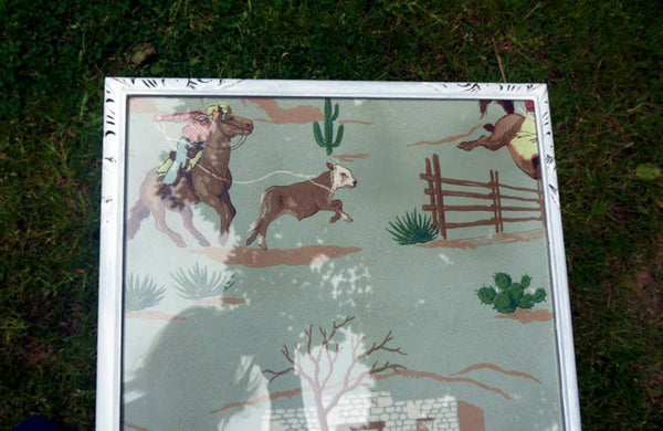 Vintage coffee table with 1940's original hand painted cowboy wallpaper