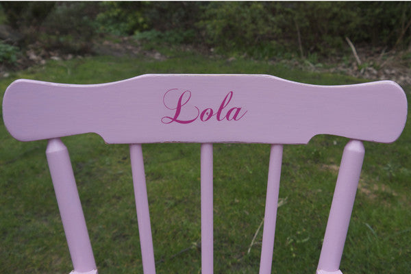 Child's vintage personalised rocking chair with name upcycled and made to order by Emily Rose Vintage shopify 1