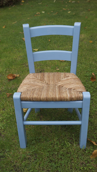 Child's vintage rush seat chair with a shabby chic blue frame from Emily Rose Vintage