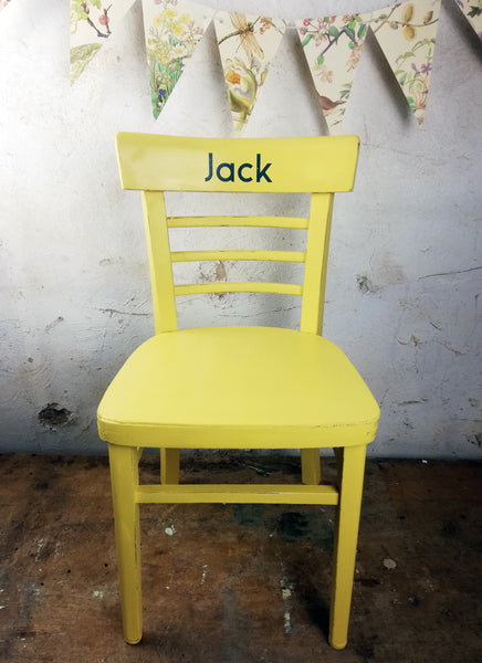 Children's personalised painted wooden school chair with your child's name - painted to order
