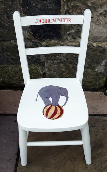 Children's personalised upcycled wooden nursery school chair with vintage circus theme and your child's name