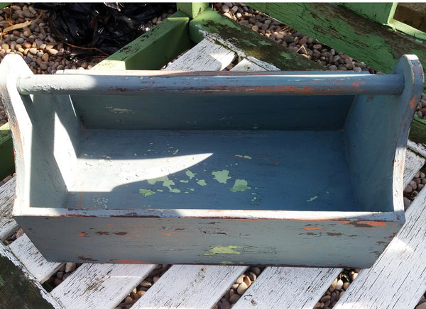 Chippy vintage style painted wooden trug in layers of Miss Mustard Seed Milk Paint