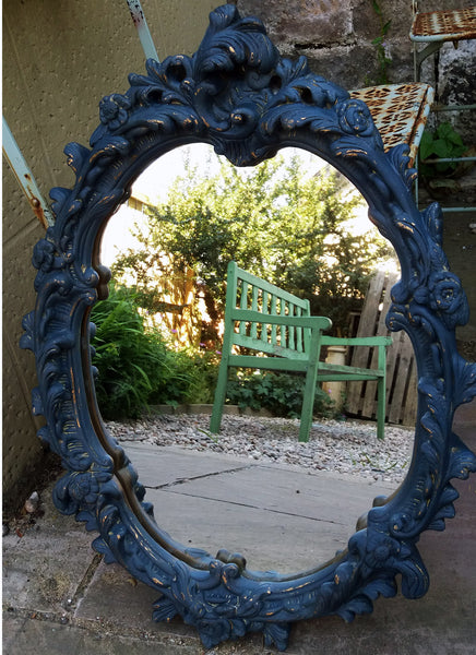 Chunky ornate gold mirror in a custom mix of miss mustard seed milk paint