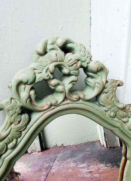 Chunky ornate gold mirror painted in an Olive Green antique finish
