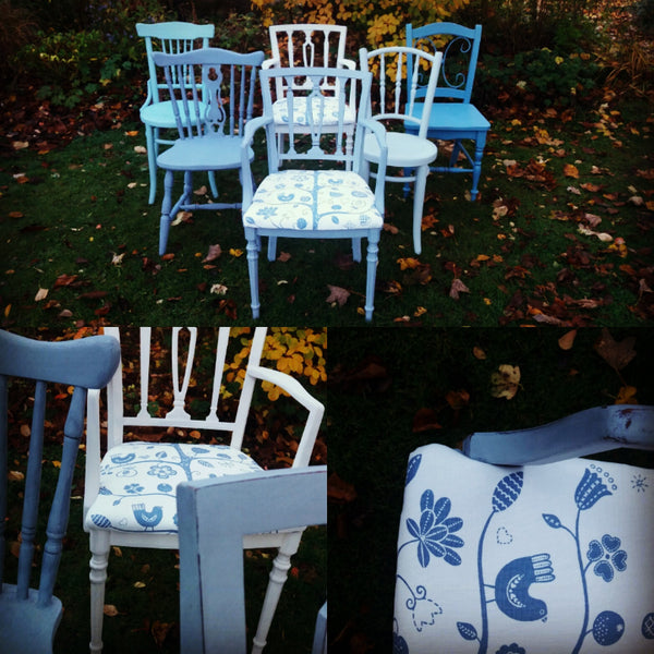 Custom listing for louise set of 6 mismatched vintage dining chairs in Miss Mustard Seed Milk Paint
