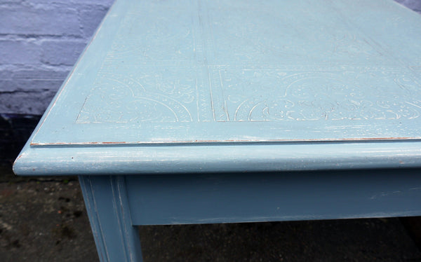 Embossed coffee / side table in fusion mineral paint Champness blue with dark wax