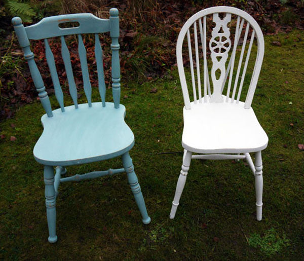 Custom Listing for Emily set of two mismatched dining chairs in Miss Mustard Seed Milk paint