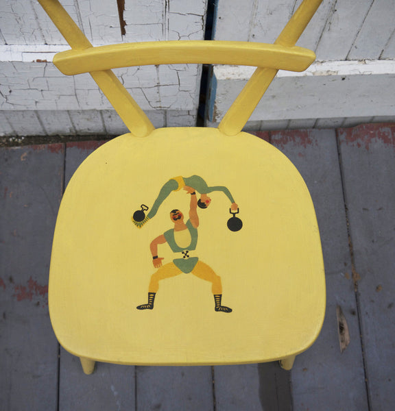 Custom Listing for Paloma Vintage Ercol childrens chair in yellow with retro strongman design and hand painted chest of drawers