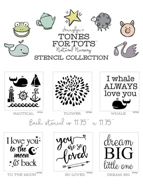 Fusion Mineral Paint Tones For Tots  Stencil collection