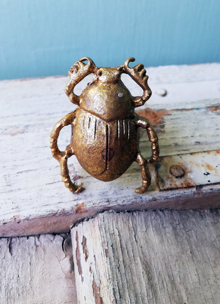 Bronze Golden Scarab beetle Vintage style metal drawer knob