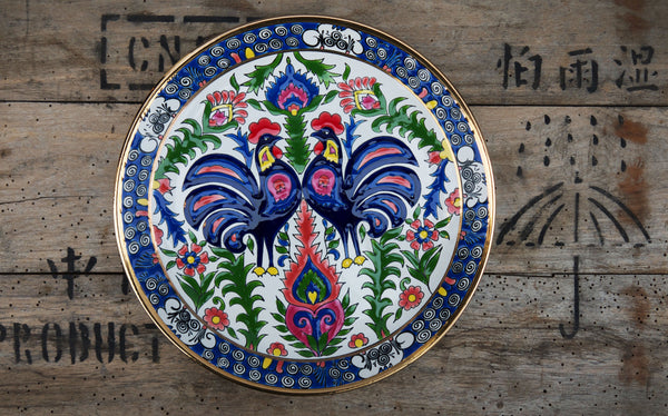 Gorgeous vintage folk art rooster dinner plate. Stunning colours and great condition.