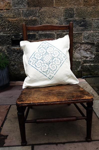 Hand stencilled linen cushion cover - chouce of 4 designs and you can choose any fusion mineral paint colour for the design