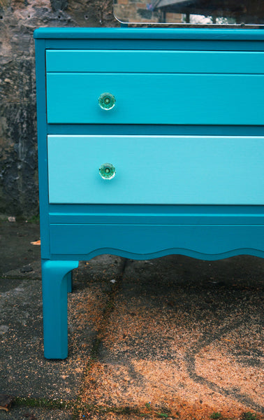 Hand painted children's dressing table in tones of Teal