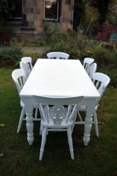 Refurbished shabby chic farmhouse vintage dining table and 8 mismatched dining chairs in white