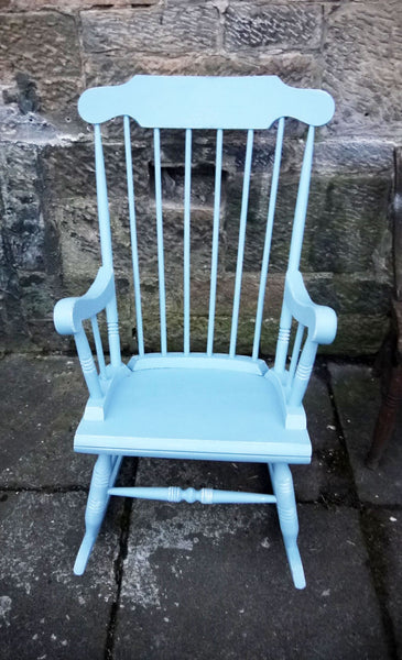 Hand painted vintage shabby chic rocking chair in Fusion Mineral Paint Heirloom Blue