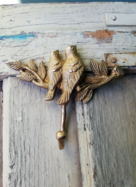 Handmade Vintage style Brass Wall Hook of two bird figurines sitting on a branch
