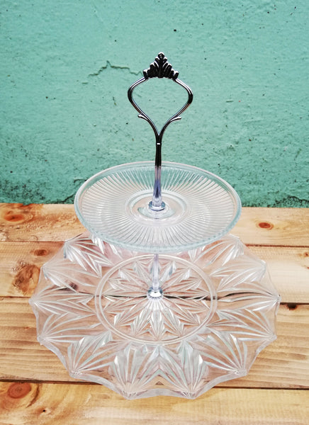 Handmade vintage clear glass cake stand