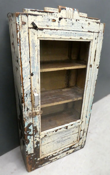 Beautiful antique painted glass fronted wall cabinet with original cream chippy paint