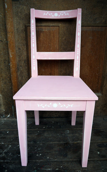 IKEA chair update painted in white and pik with bautiful folk art white stencil design - all profits got to Maggies Cancer Centres in aid of Breast Cancer Awarness Month