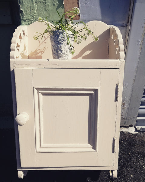 RESERVED Vintage weathered painted bathroom cabinet