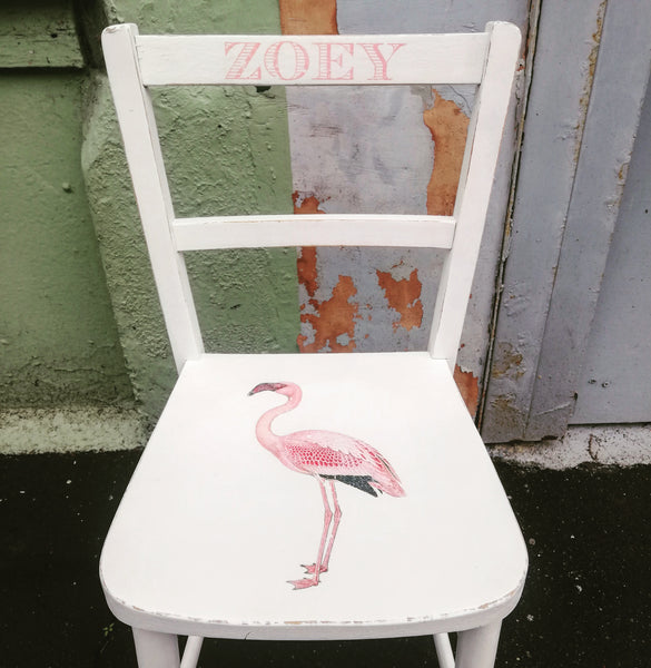 Children's personalised upcycled shabby chic wooden nursery school chair with vintage flamingo theme and your child's name