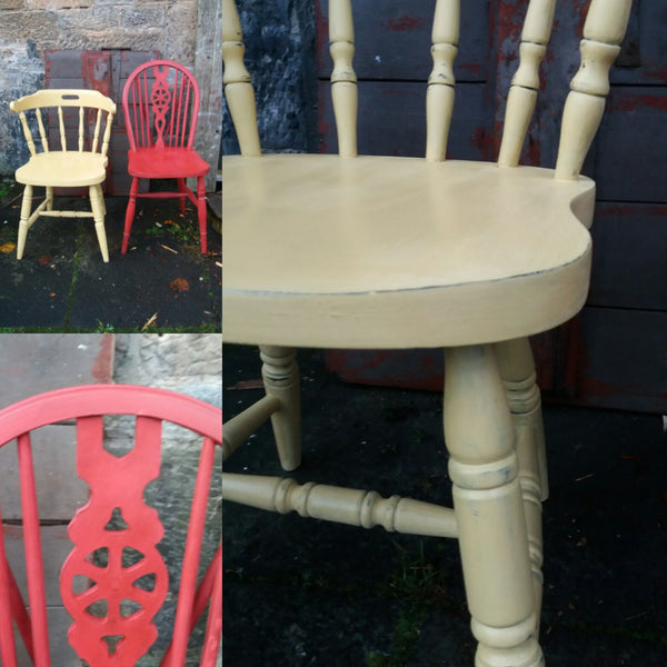 Custom Listing for Emily 2 hand painted vintage kitchen chairs in Miss Mustard Seed Milk Paint