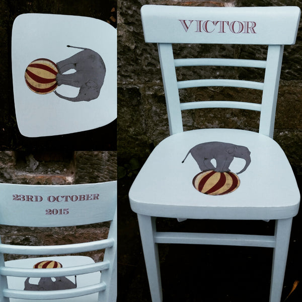 custom listing for Emily L children's personalised vintage school chair with circus theme