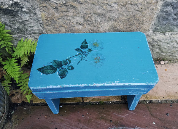 Vintage hand painted  wooden step stool with blue rose design