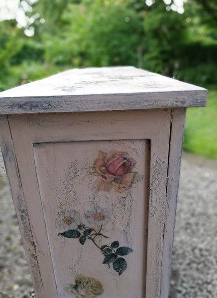 Hand painted boho bookcase with rose theme