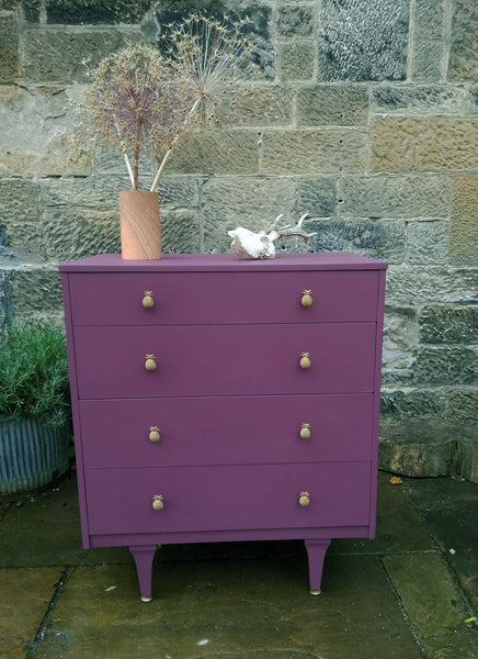 Custom Listing for Rebecca Vintage chest of drawers painted in Vintage with Grace Chalk Paint Mulberry