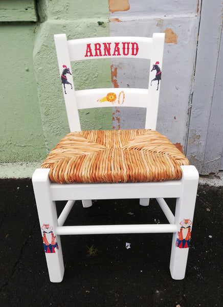 Upcycled rush seat personalised children's chair - French Circus theme - made to order