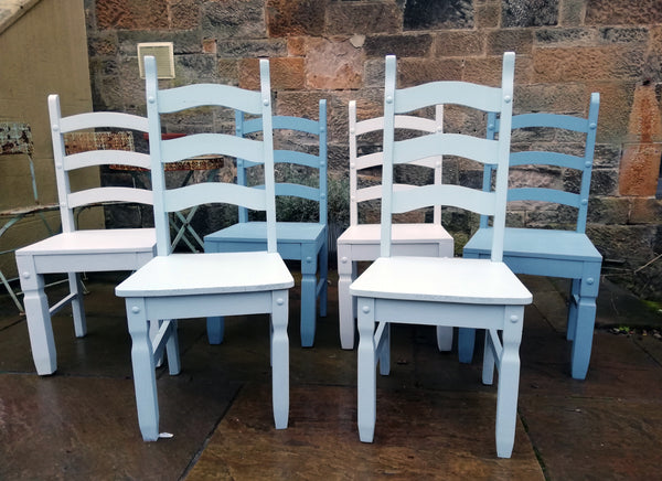 Shabby chic mismatch vintage dining chairs painted to order  in Fusion Mineral Paint